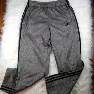 adidas Mens Gray Black Joggers Sweatpants Lg
